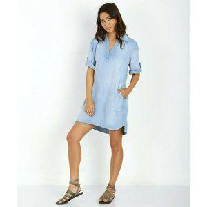 Bella Dahl Blue Chambray V Neck Shirt Dress